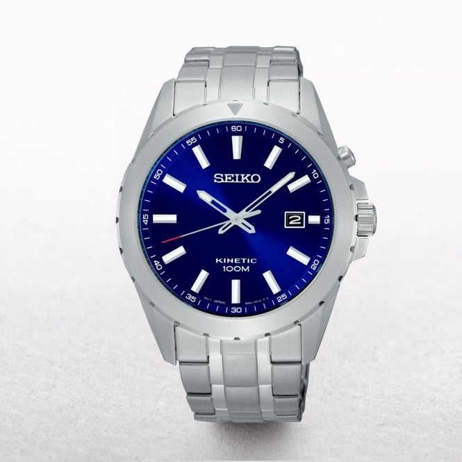 Gents Seiko Kinetic Stainless Steel Blue Dial