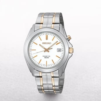 Gents Seiko Kinetic Two Tone White Stainless Steel Dial