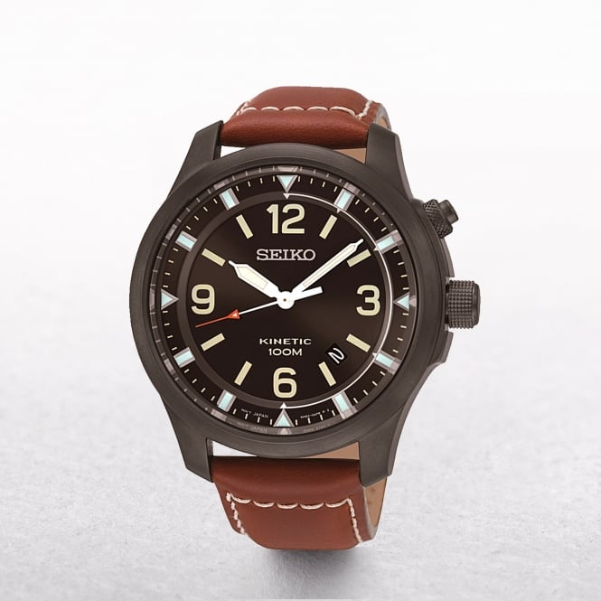Gents Seiko Neo Sports Ion Coated Black Dial With Brown Strap