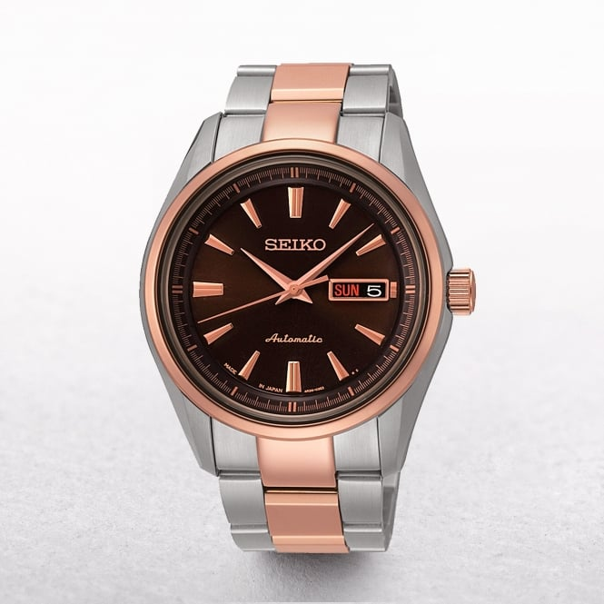 Gents Seiko Presage Automatic Two Tone Day & Date Window