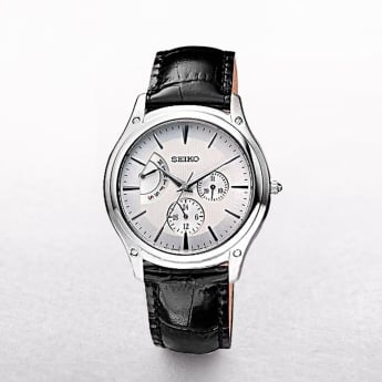 Gents Seiko Retrograde Three Dial Stainless Steel Case On A Leather Strap