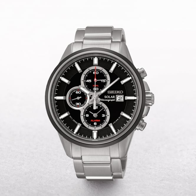 Gents Seiko Solar Powered Alarm Chronograph Black Dial