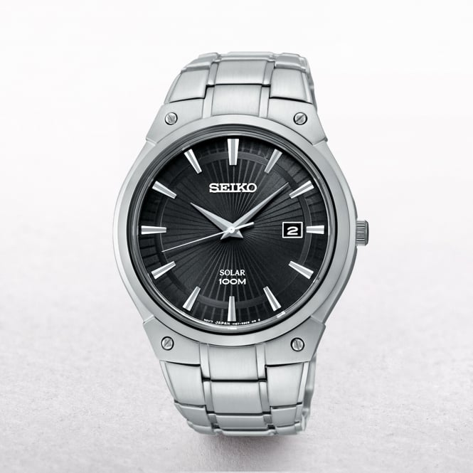 Gents Seiko Solar Powered Black Dial