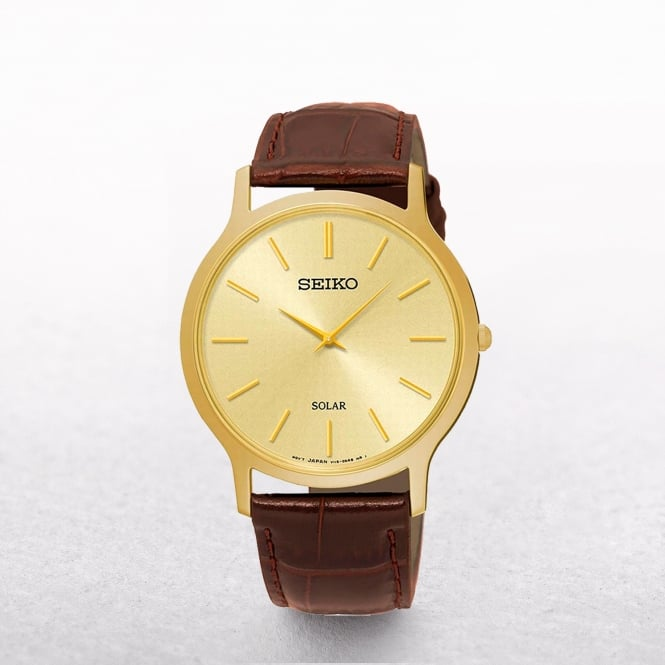 Gents Seiko Solar Powered Gold Plated Classic