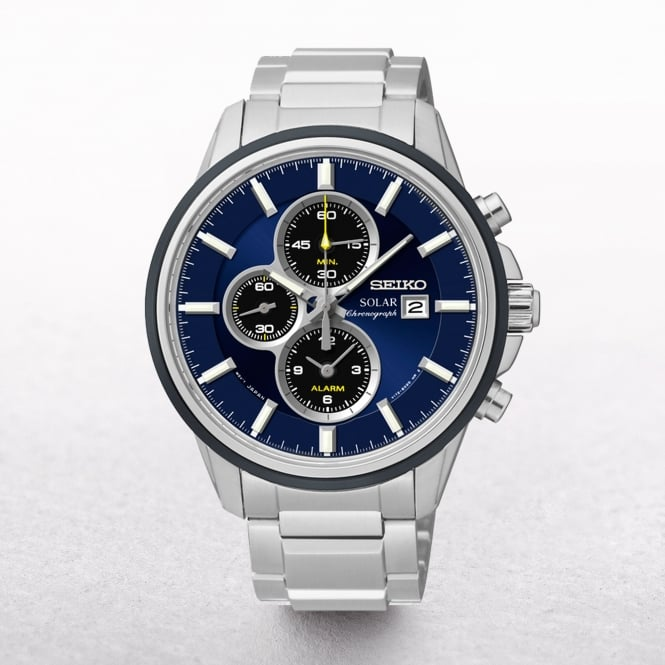 Gents Seiko Solar Powered Sports Alarm Chronograph