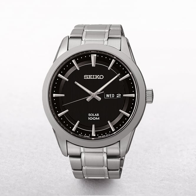 Gents Seiko Solar Powered Stainless Steel Black Dial