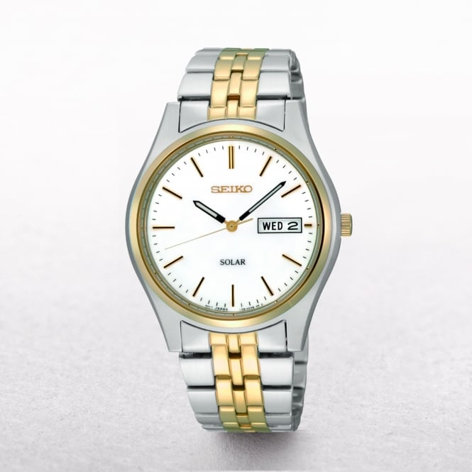 Gents Seiko Solar Powered Two Tone Day & Date Window