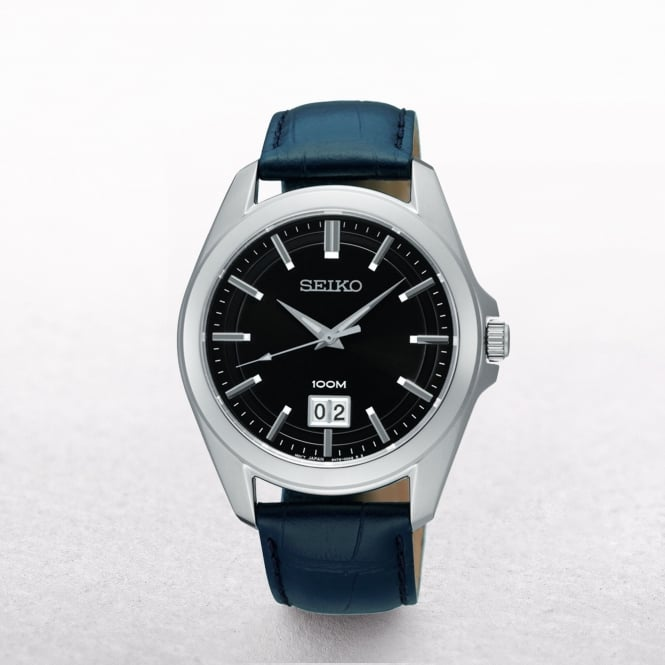 Gents Seiko Stainless Steel Case With Leather Strap
