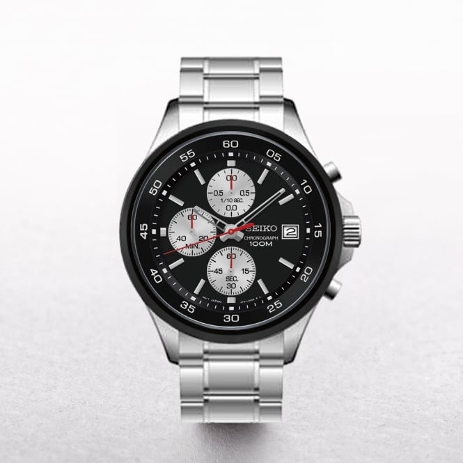 Gents Seiko Stainless Steel Chronograph With Black Dial
