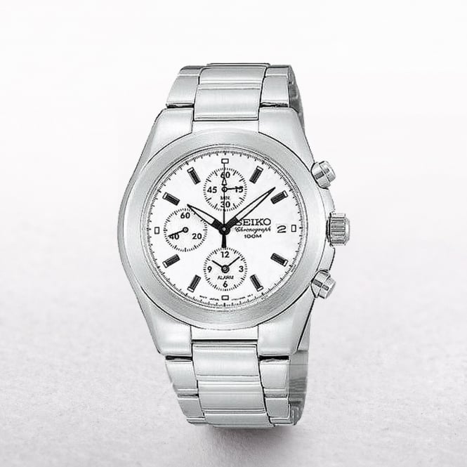 Gents Seiko Stainless Steel Chronograph With White Dial