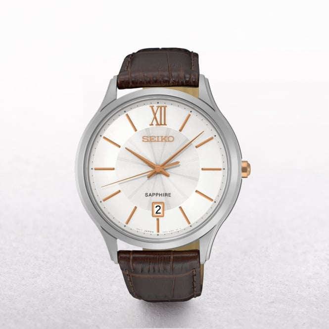 Gents Seiko Stainless Steel Gold Plated Batons Dial On A Strap