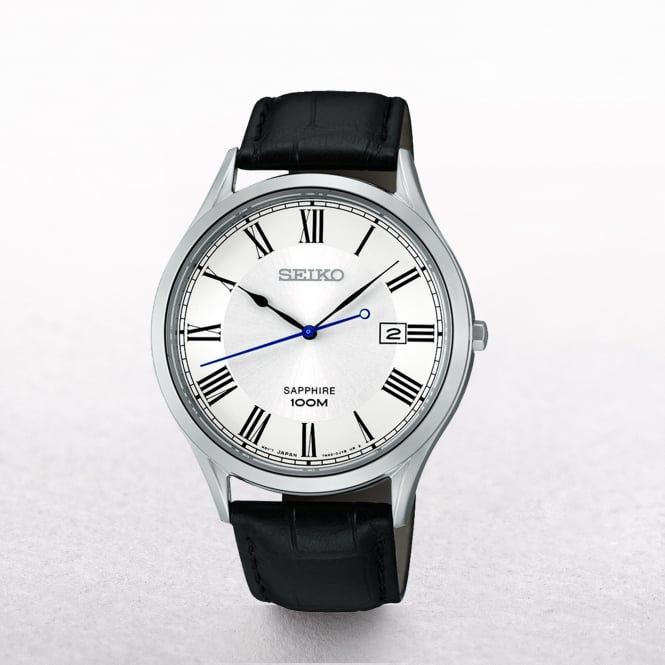 Gents Seiko Stainless Steel Roman Numeral Dial On A Strap
