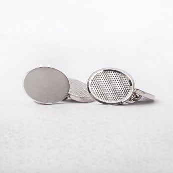 Gents Silver Oval Cufflinks