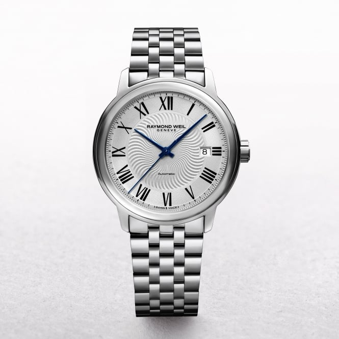 Gents Stainless Raymond Weil Maestro Automatic, Date, Roman Numerals and Bracelet