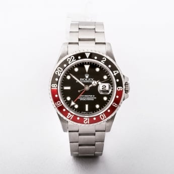 Gents Stainless Steel Rolex GMT Master II with Black and Red Bezel