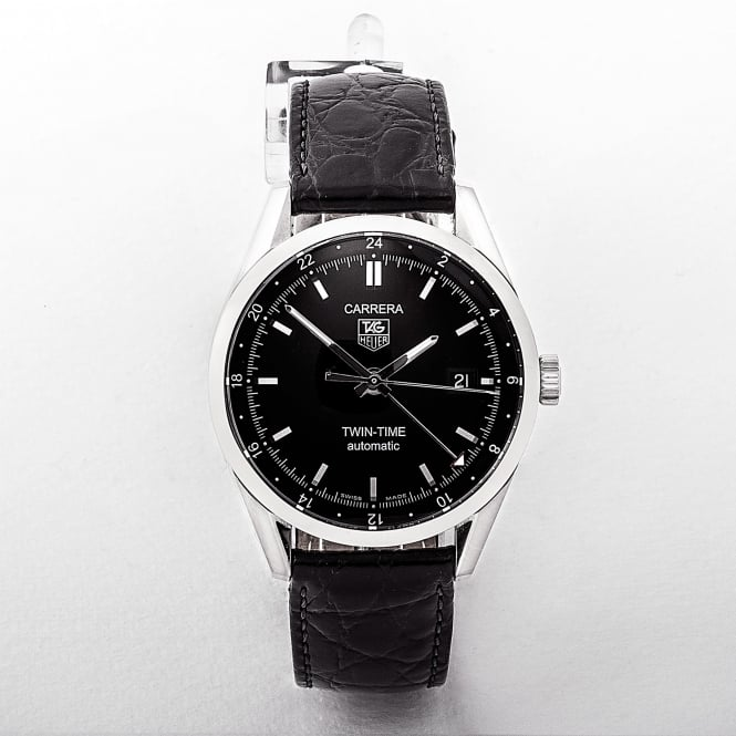 Gents Tag Heuer Carrera Twin Time Black Dial Watch