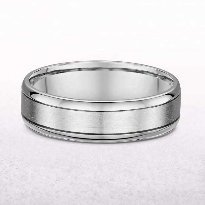 Gents White Gold 7mm Wedding Band