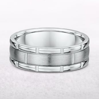 Gents White Gold Fancy Style Wedding Band