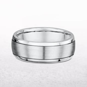 Gents White & Yellow Barrel Shape Wedding Band