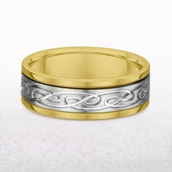 Gents White & Yellow Gold Celtic Knot Band