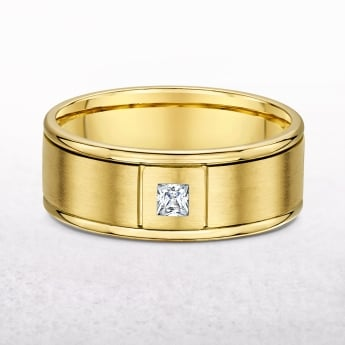Gents Yellow Gold & 0.15ct Diamond Wedding Band