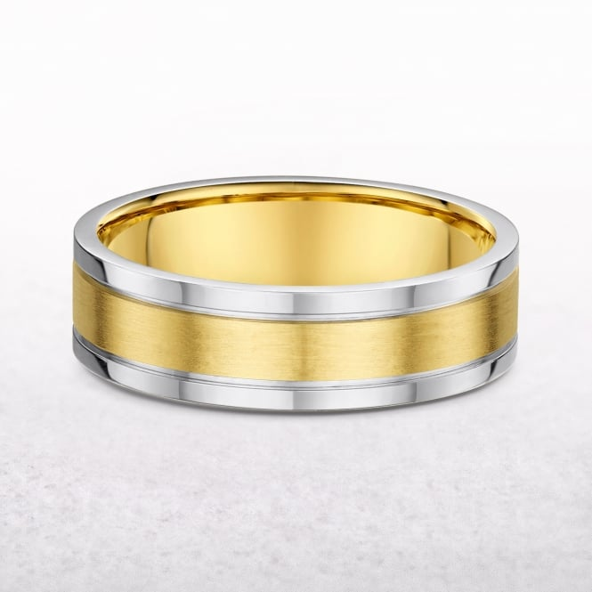 Gents Yellow & White Gold 5.3mm Flat Edge Wedding Band