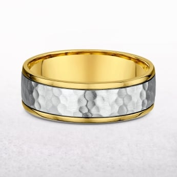 Gents Yellow & White Gold 7mm Hammer Finish Wedding Band