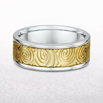 Gents Yellow & White Gold 8mm Newgrange Spiral Design Wedding Band