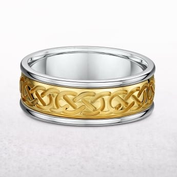 Gents Yellow & White Gold Celtic Knot Ring