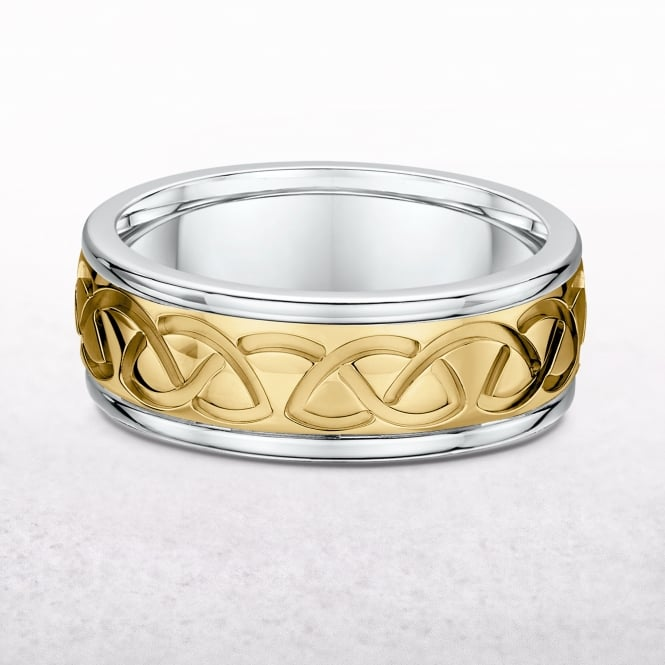 Gents Yellow & White Gold Celtic Ring