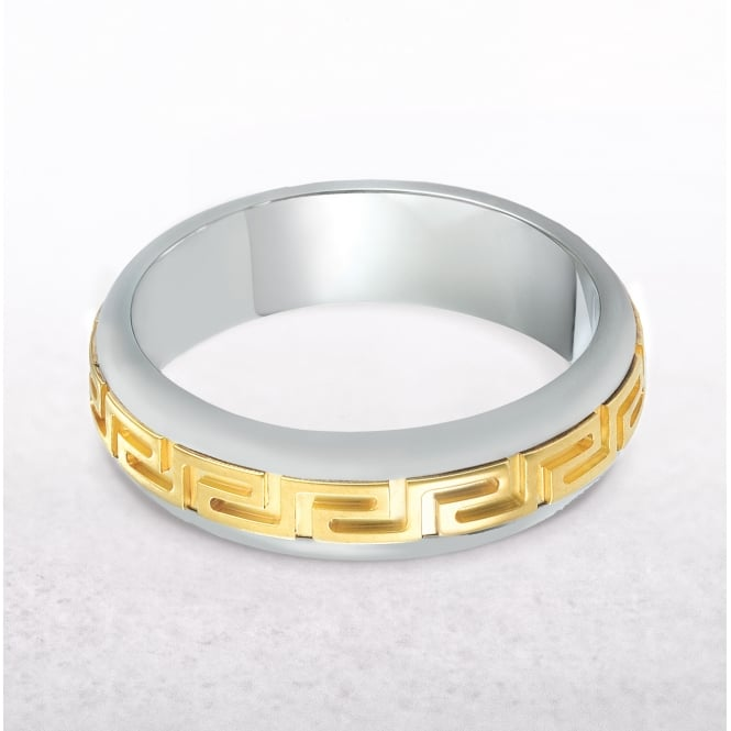 Gents Yellow & White Gold Greek Wedding Band