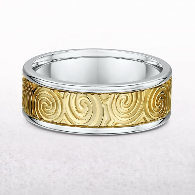 Gents Yellow & White Gold Newgrange Spiral Design Ring