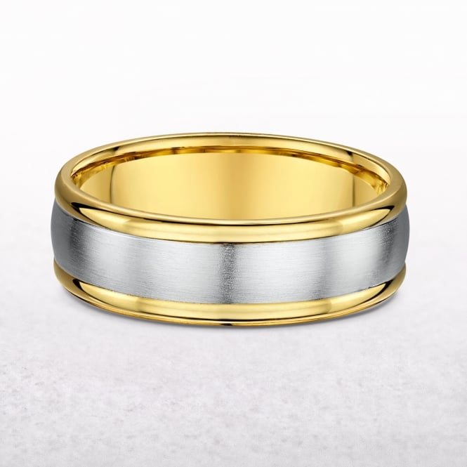 Gents Yellow & White Gold Wedding Band