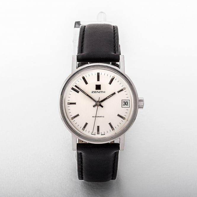 Gents Zenith Stainless Steel Silver Dial On A Leather Strap
