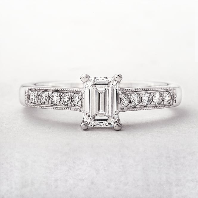 GIA Certified Emerald Cut Solitaire Diamond Ring, 0.70ct, White Gold