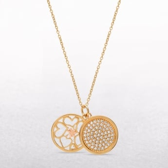 Gold Plated Cubic Zircona Discs With Rose Gold Shamrock