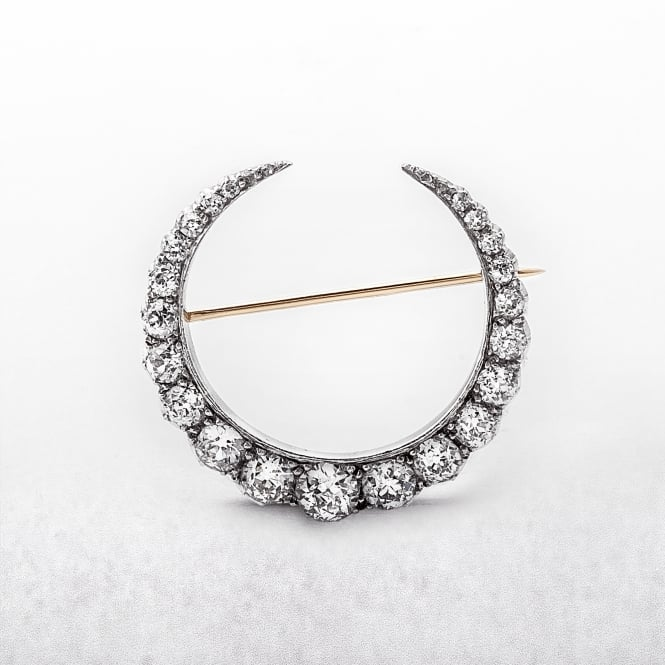 Gold & Silver 5.00ct Diamond Crescent Shape Brooch