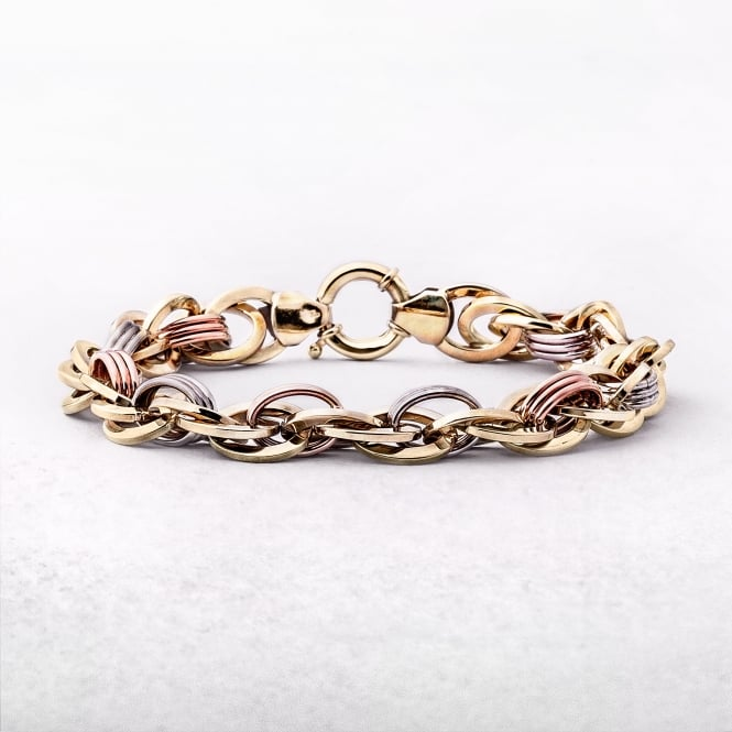 Gold Tri-Colour Intertwined Oval Link Bracelet