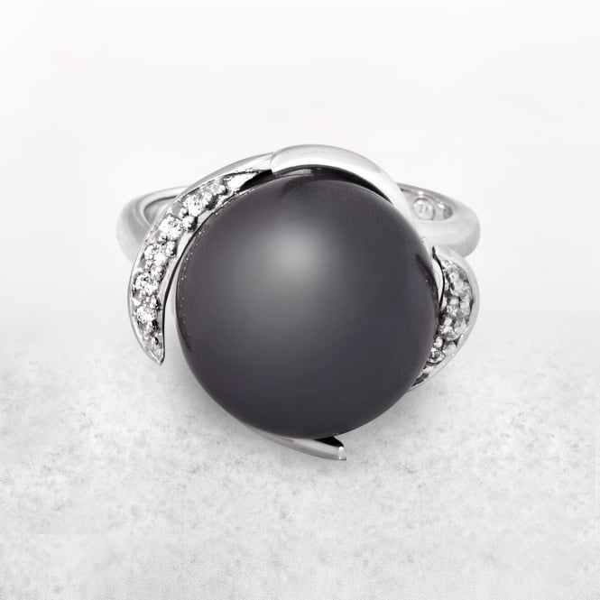 Grey Pearl Ring with Silver Band and Cubic Zirconia Setting