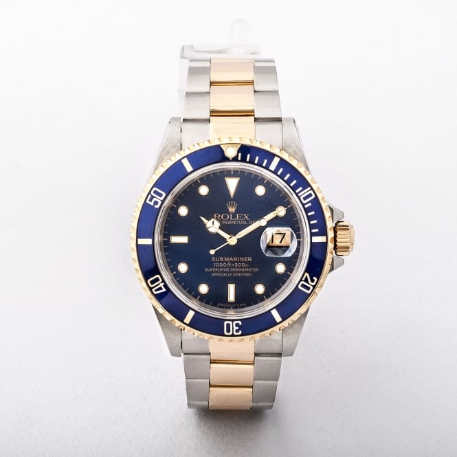 Gts Submariner Rolex in 18ct Gold and Stainless Steel with a Blue Dial