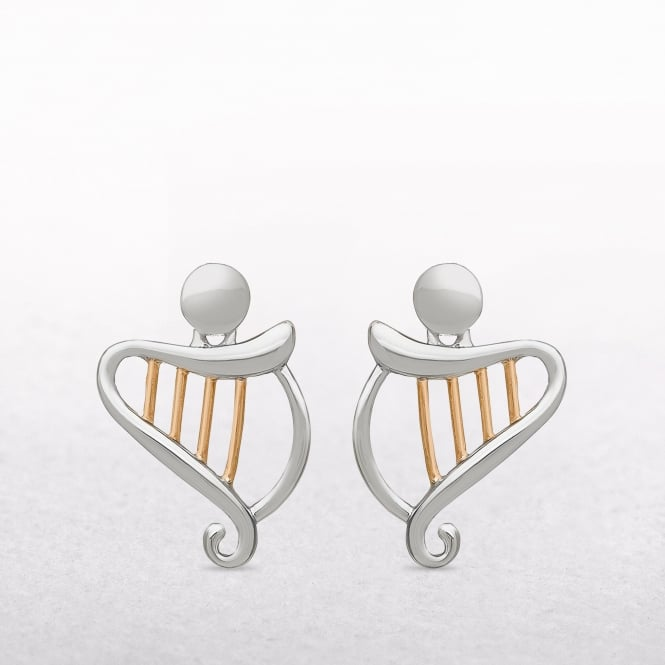 Harp Sterling Silver & Rose Gold House of Lor Earrings
