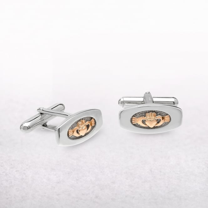 Irish Claddagh Sterling Silver & Rose Gold House of Lor Cufflinks