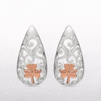 Irish Rose Gold Shamrock Silver House of Lor Earrings