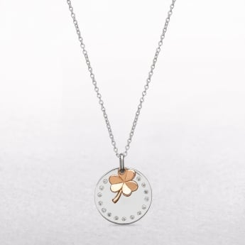Irish Silver Cubic Zircona Disc & Rose Shamrock House of Lor Pendant