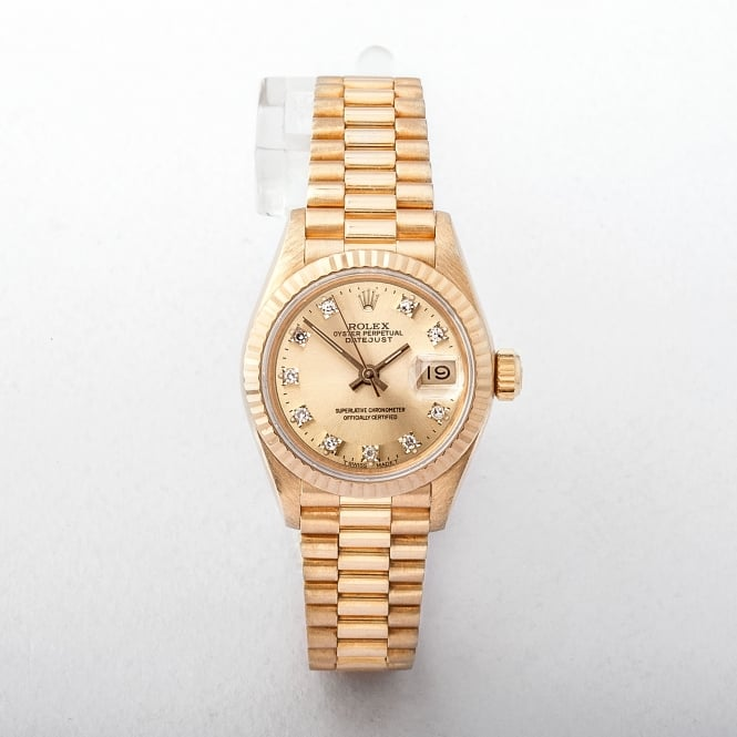 Ladies 1990 Rolex DateJust Diamond Champagne Dial