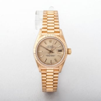 Ladies 1996 Certified Rolex Datejust Watch with Champagne Dial