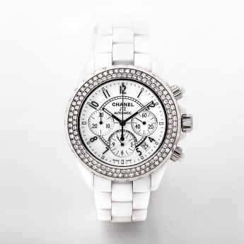 Ladies Chanel J12 Chronograph Ceramic & Diamond Watch