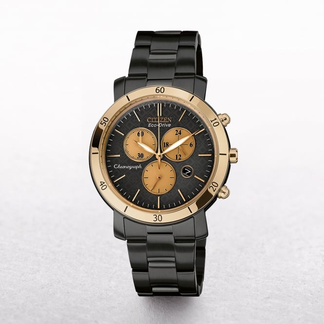 Ladies Citizen Eco-Drive AML Chronograph Black Ion Plated Stainless Steel