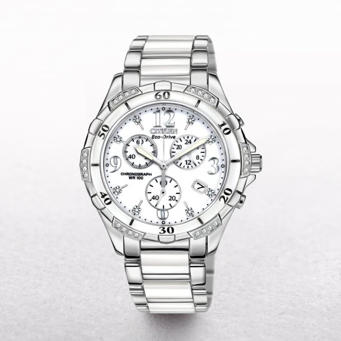Ladies Citizen Eco-Drive Ceramic & Diamond Chronograph