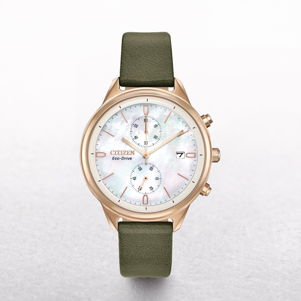 Ladies Citizen Eco-Drive Chandler Chronograph Watch with a Vegan Leather  Strap